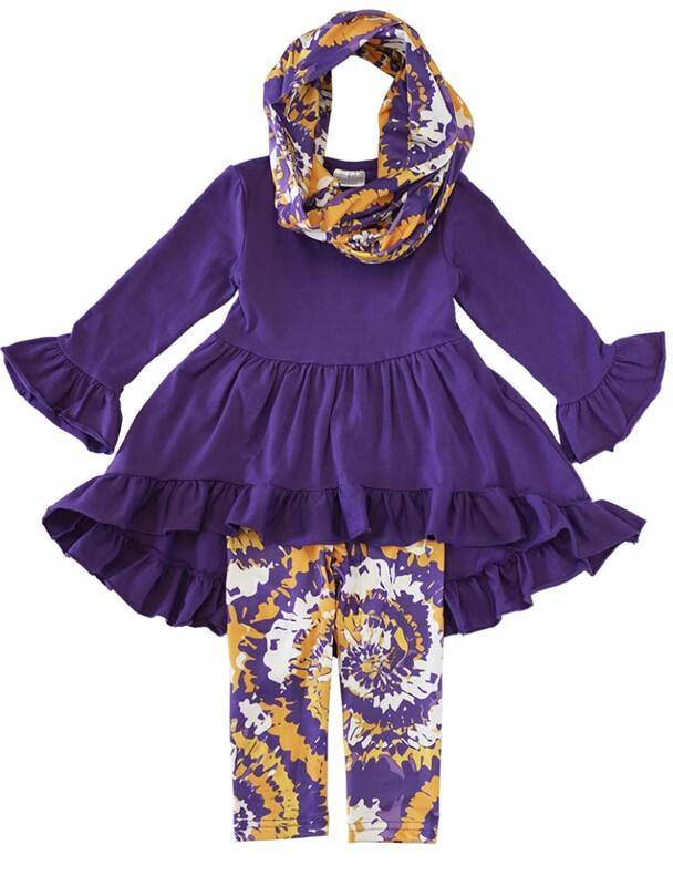 High-Low Tie Dye 3pc Set (Purple)