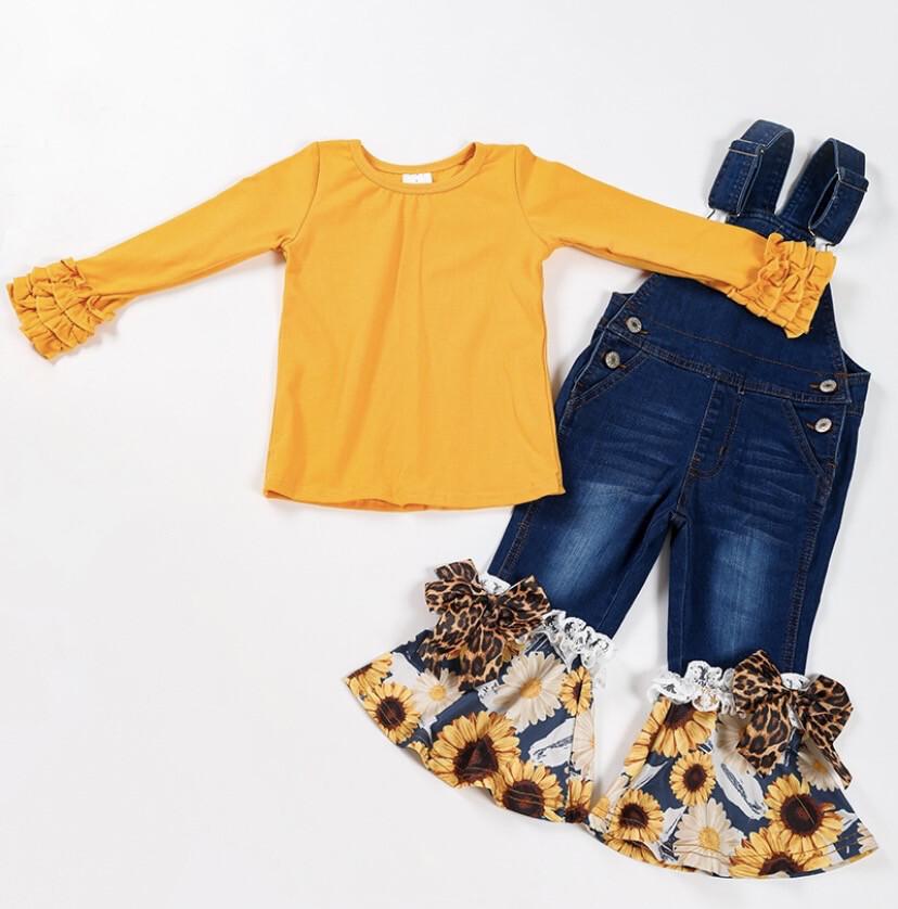 Sunflower Ruffle Overall Set