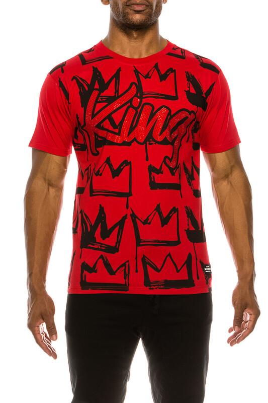 Men King Rhinestone Shirt