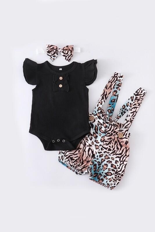 Leopard Suspender Shorts Set