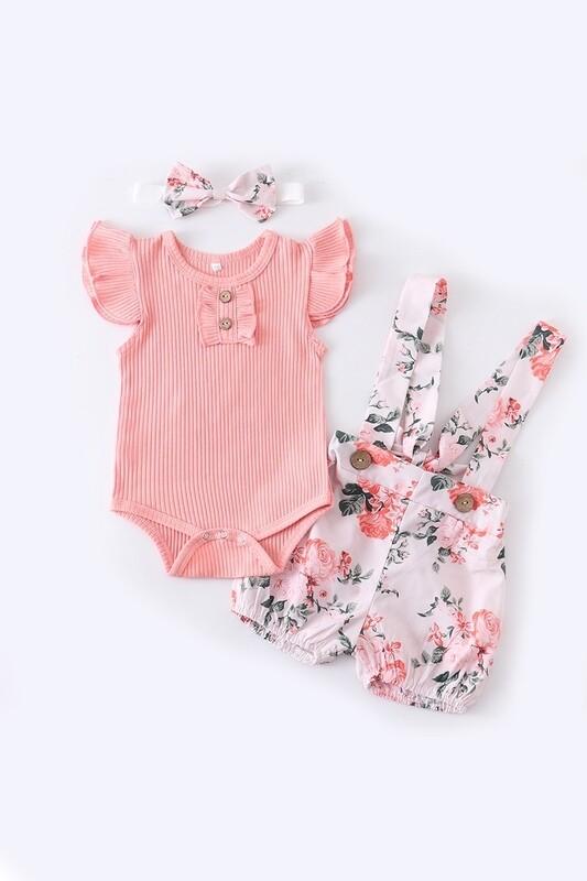 Pink Floral Suspender Shorts Set