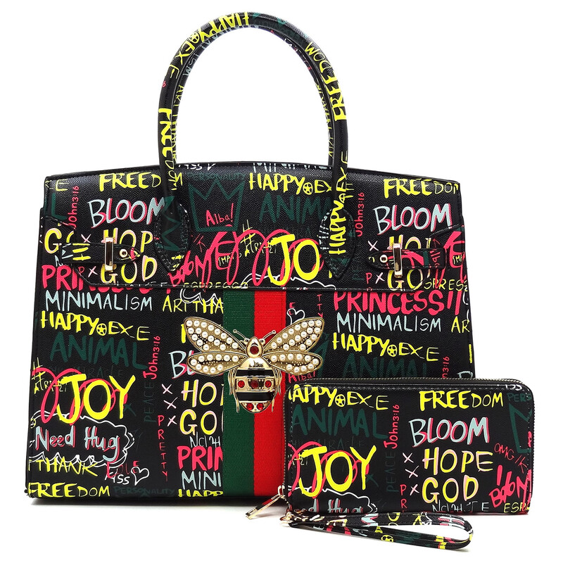 Multicolor Graffiti Satchel and Wallet set