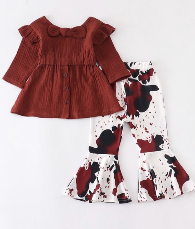 Maroon Tie Shirt And Cow Pattern Pants Set