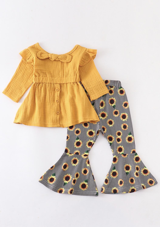 Mustard Sunflower Bell Pants Set