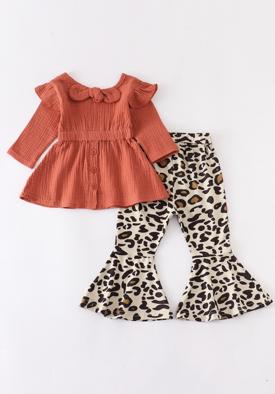 Coral And Leopard Bell Pants Set