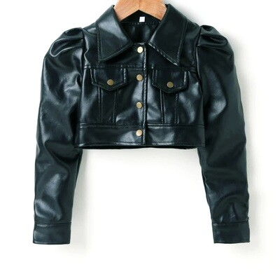 Black Leather PU Jacket