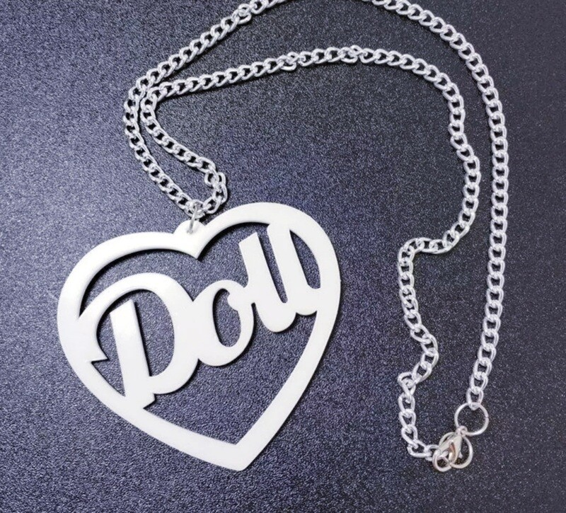 White Doll Necklace