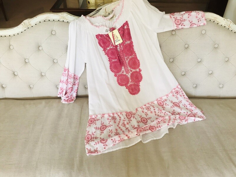 Abito ecrù moda positano in cotone indiano
