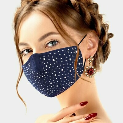 Rhinestone Studded Cotton Fashion Mask