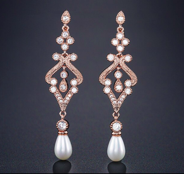 Gorgeous Vintage Pave Scroll Formal Earrings