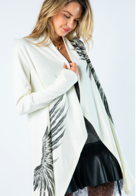 Ivory Open Long Sleeve Cardigan With Wing Print