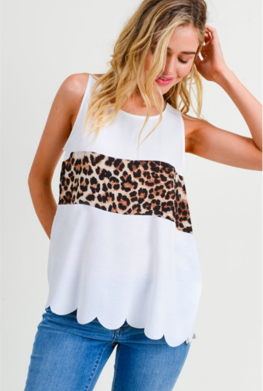 OFF WHITE LEOPARD MIDDLE TANK