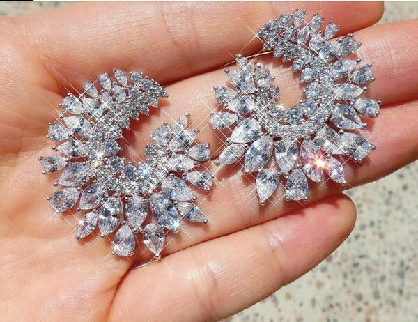 Spectacular Large Cluster Swirl AAA CZ Studs