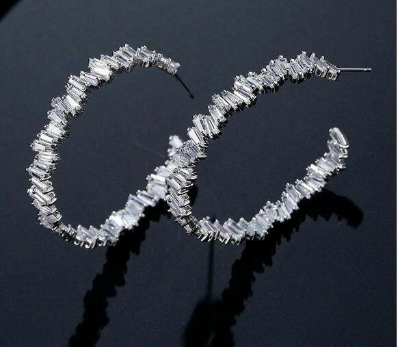 Luxury Baguette AAA CZ Large Hoop Earrings