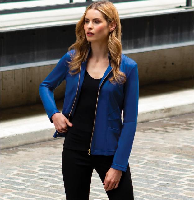 Cobalt Blue Liquid Leather Slit Pocket Jacket