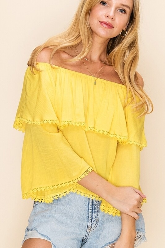Yellow Cotton Off The Shoulder Top