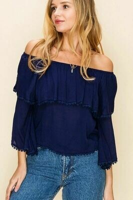 Navy Blue Off the Shoulder Cotton Top