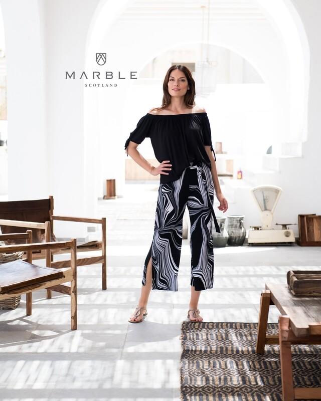 Black and White Ankle Pant with Side Slit