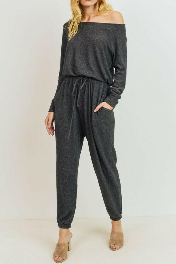 Charcoal Off  Shoulder Knit Lounge Jumpsuit
