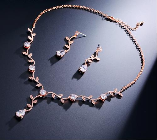 AAA Cubic Zirconia Vine Leaf Necklace Set