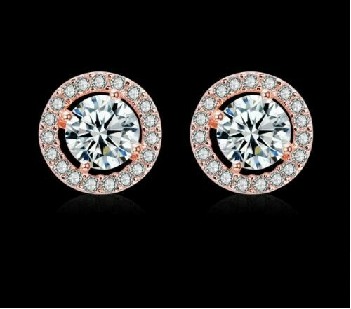 Round Floating Halo AAA Cubic Zirconia Studs