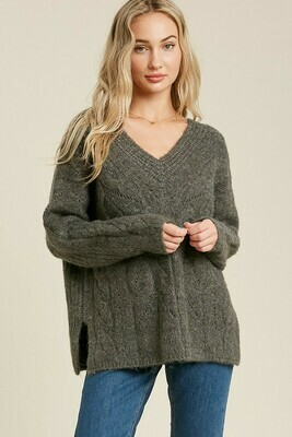 Charcoal V Neck Cable Knit Pullover Sweater