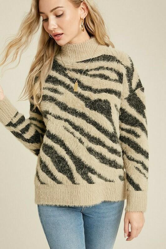 Taupe Fuzzy Mock Neck Zebra Sweater