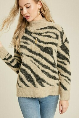 Taupe Fuzzy Mock Neck Zebra Sweater