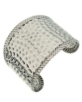 Designer Look Hammered Silver Tone Cuff Bracelet
