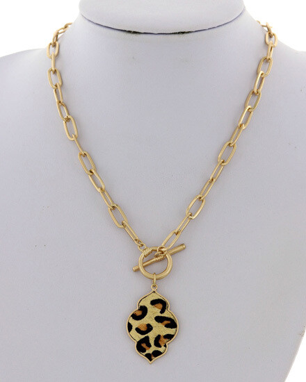 Gold Toggle Necklace with Animal Print Pendant
