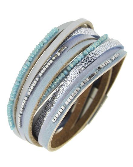 Matt Silver Grey Blue Leather Wrap Shimmer Bracelet