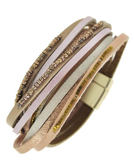 Matt Rose Gold Multi Pink Leather Wrap Shimmer Bracelet