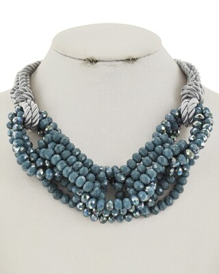 Teal Seed Bead Grey Multi Rope Necklace