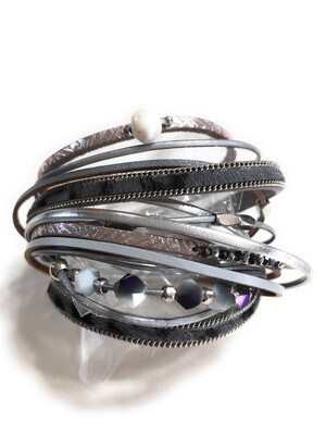 Silver & Grey Multi Strand Beaded Magnetic Bracelet