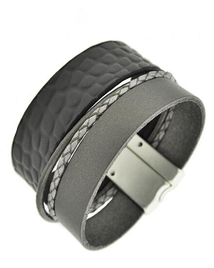 Grey Leather Matt Silver Multi Strand Magnetic Bracelet