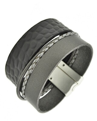 Grey Leather Matt Silver Multi Strand Magnetic Bracelet