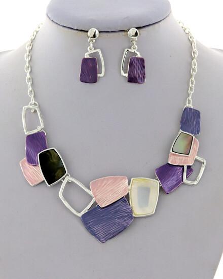 Silver Purple Pink Black Multi Shaped Necklace Set