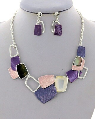 Silver Purple Pink Black Multi Shaped Necklace Set