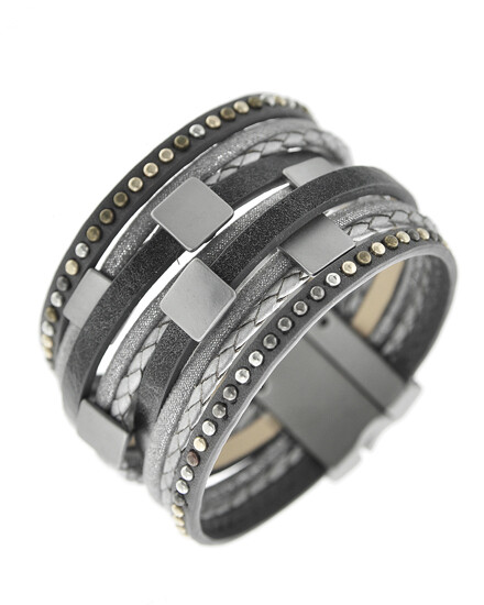 Gunmetal Metal Accented Grey Leather Magnetic Bracelet