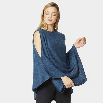 Open Shoulder Solid Poncho