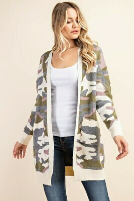 Ivory Camo Open Front Pocket Long Cardigan