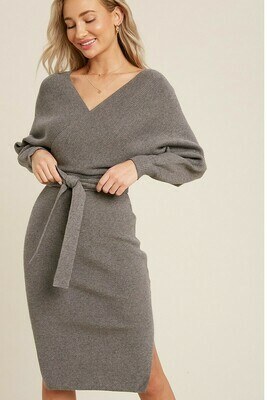 Grey Ribbed Knit Sweater Dress With Belt