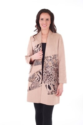 Tan Metallic Animal Print Open Front Suede Coat