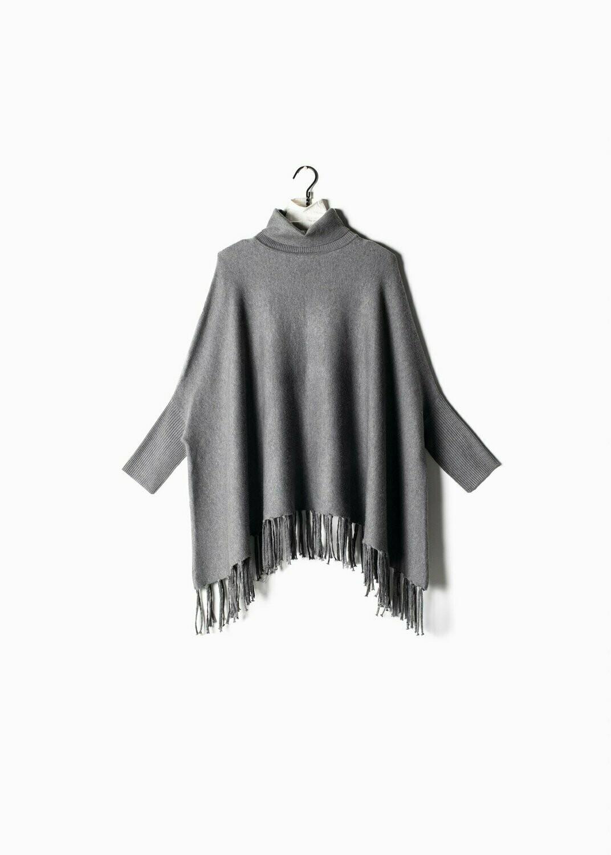 Turtleneck Fringe Cape Sweater