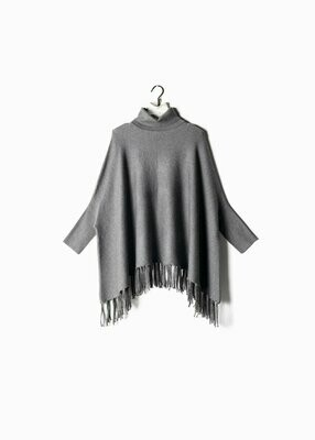 Turtleneck Fringe Cape Sweater