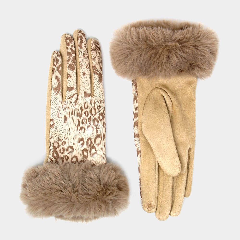Metallic Leopard Print Faux Fur Trim Smart Gloves