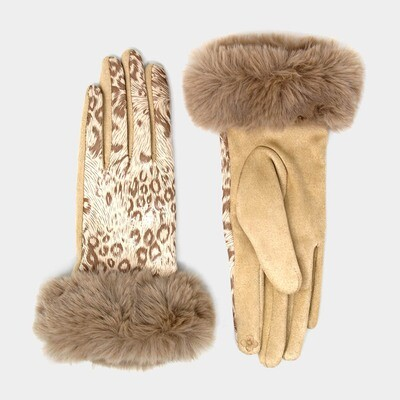 Metallic Leopard Print Faux Fur Trim Smart Gloves
