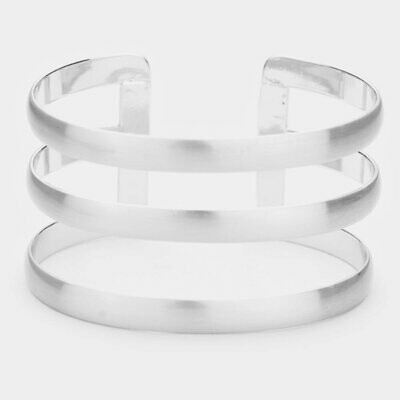 Rhodium Cage Cuff Metal Bracelet