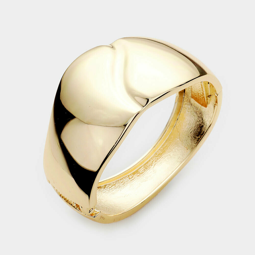 Gold Dome Metal Hinged Bracelet