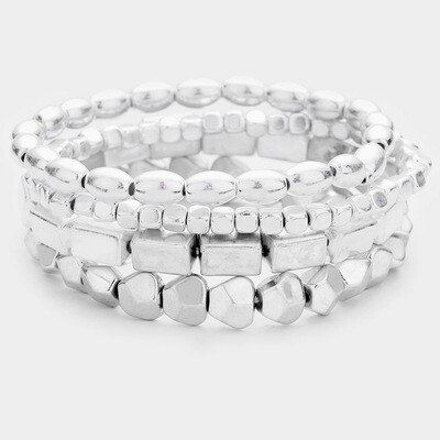 Metal Beaded Stretch Layered Bracelets